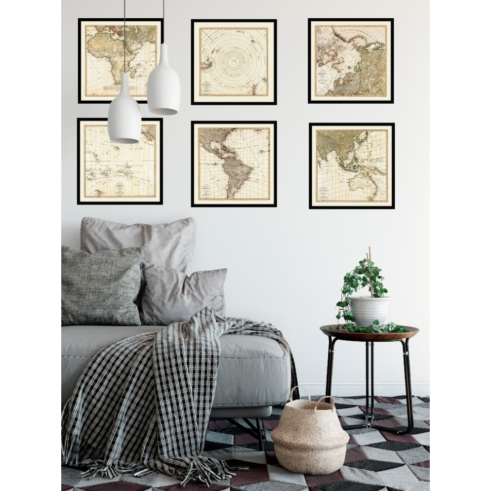 Vintage Set Of Six Square World Maps World Map Posters For Sale - World map posters for sale