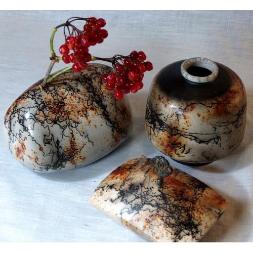 Raku Art Pottery Buy A Set Of Three Pieces For Your Home Decor