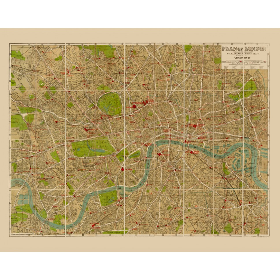 Vintage Map Reproduction Of London For Wall Decoration - Old map reproductions